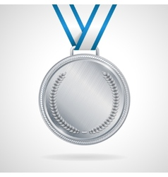 silver medal with ribbon vector image