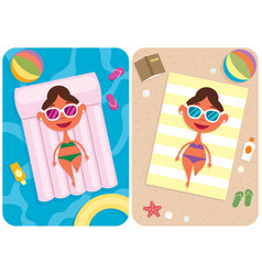 summer vacation girl vector image vector image