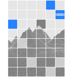 tiled abstraction black and white with blue vector image vector image