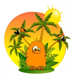 tropical cartoon animal vector image