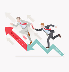 two businessman running on red arrow vector image vector image