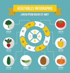 Vegetables infographic concept flat style vector