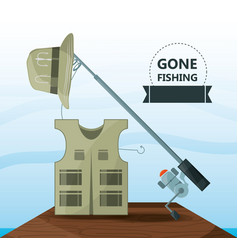 vest hat and rod fishing equipment vector image vector image