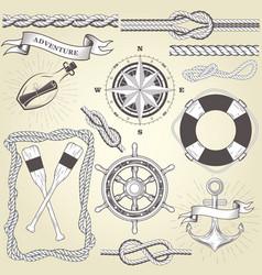 Vintage seafaring elements - steering wheel oars vector