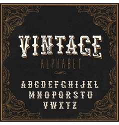Vintage western alphabet decorative vintage vector