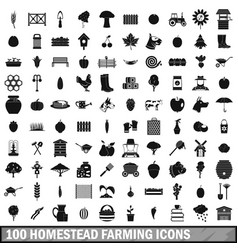 100 homestead farming icons set simple style vector