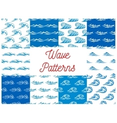 Blue and white ocean waves seamless patterns set vector
