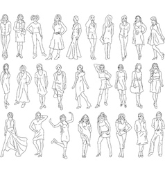 Sketches of women vector