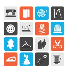 Silhouette sewing equipment and objects icons vector