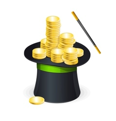 Magic hat and gold coins vector