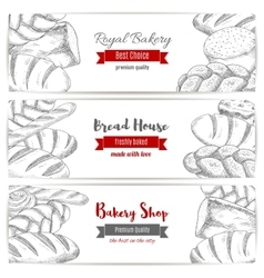 Royal bakery shop bread sketch banners set vector