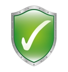 Metallic shield inside with approval symbol vector