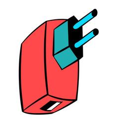 Electric power adapter icon cartoon vector