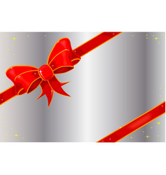 Christmas ribbon on silver vector