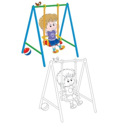 Boy on a swing vector