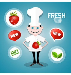 Cook - chef with strawberry and fresh new bio vector