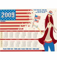2009 calendar with american girl vector image vector image