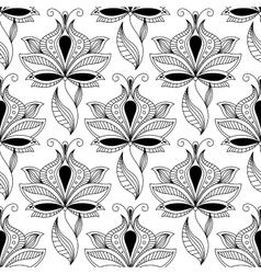 Persian black paisley seamless pattern vector