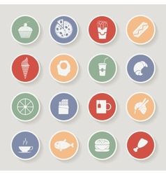 Round food icons vector