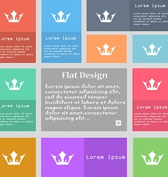 Crown icon sign set of multicolored buttons with vector