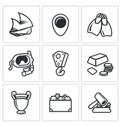 Treasure hunt icons set vector