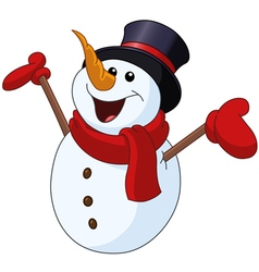 Snowman raising arms vector