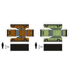 Paper models of two cars vector