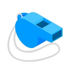 Blue sport whistle on a white cord isometric icon vector