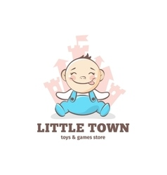 Cute baby logo in sketch style toys and vector