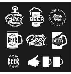 Beer related typography set vintage vector image