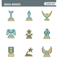 Icons line set premium quality of media awards vector