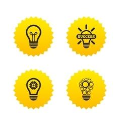 Light lamp icons energy saving symbols vector
