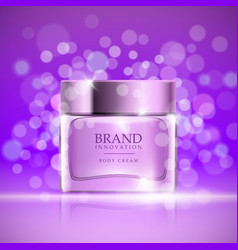 Beauty cream on purple bubbles background skin vector