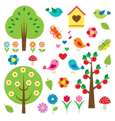 Birds and trees set vector image vector image