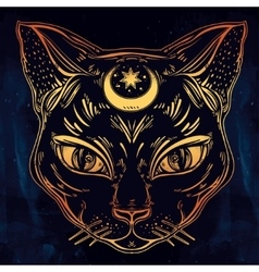 Black cat head portrait with moon vector image