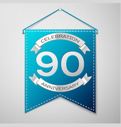 Blue pennant with inscription ninety years vector