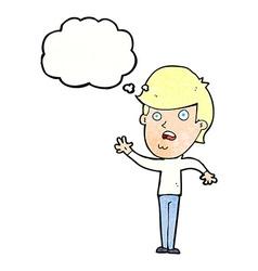 Cartoon unhappy boy with thought bubble vector
