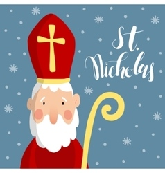 Cute greeting card with saint nicholas with mitre vector