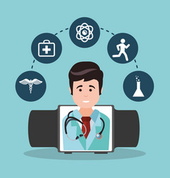 Doctor wearable technology medicine vector