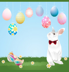 Easter eggs hanging and bunny vector