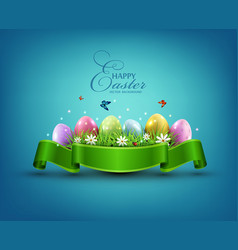 Easter eggs with grass and flowers in green vector