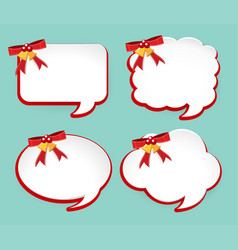 Four labels with red ribbons and bells vector