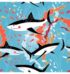 Graphic pattern of swimming sharks vector