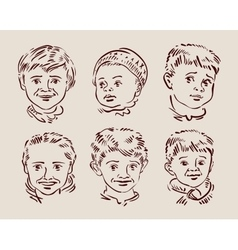 hand-drawn faces of children sketch vector image