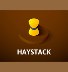 Haystack isometric icon isolated on color vector