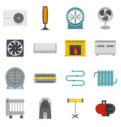 Heating cooling air icons set in flat style vector