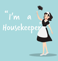 Housekeeper character with broom on sky blue vector