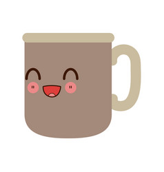 Kawaii coffee cup morning beverage fresh vector