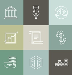 line banking icons and logos vector image