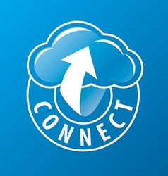 logo connectivity cloud and arrow vector image vector image